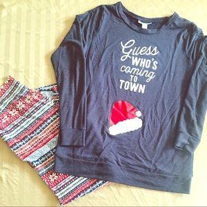 Maternity holiday sweatshirt and leggings